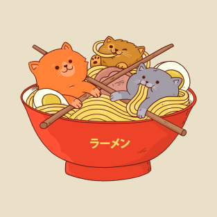 Ramen and cats t-shirts