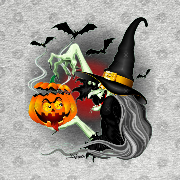 Witch with Jack O'Lantern and Bats