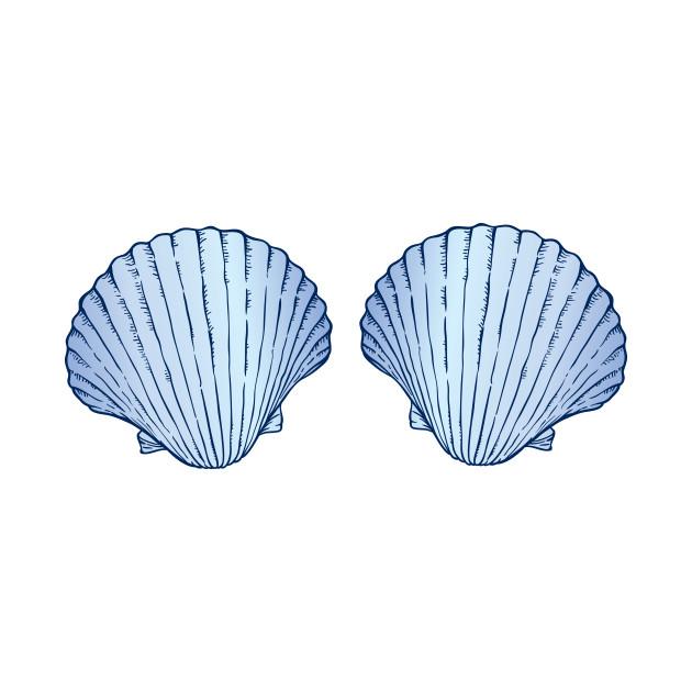 b05988c7aeb0d Blue Mermaid Shell Bra - Blue Shell Bra - Tank Top