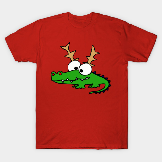 Funny Alligator with Reindeer Antlers Christmas Art