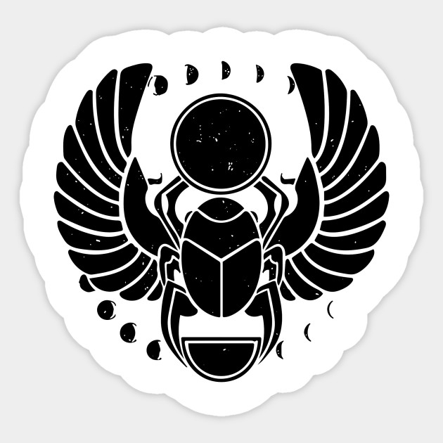 Egyptian Scarab With Moon Phases Distressed Egyptian Sticker