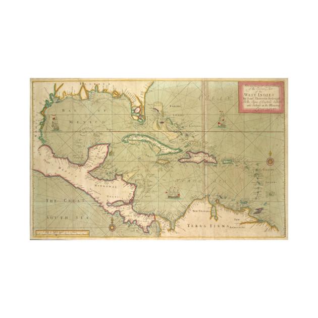 Vintage Map of The Caribbean (1707) - Caribbean Sea - T-Shirt ...