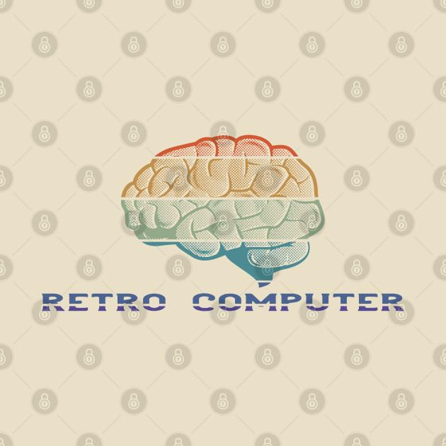 Retro Computer - Vintage Colored Brain