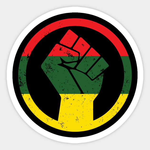 rasta black power fist distressed shirt protest sticker teepublic