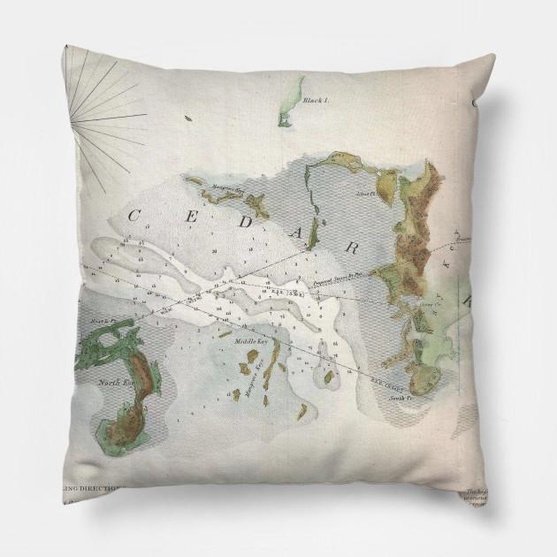 Cedar Key Florida Map.Vintage Map Of Cedar Key Florida 1852 Cedar Key Map Pillow