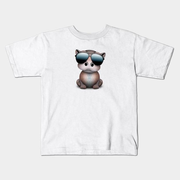aeb743ad3790 Cute Baby Hippo Wearing Sunglasses - Baby Hippo - Kids T-Shirt ...