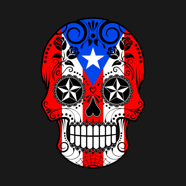 Puerto Rican Flag Sugar Skull with Roses