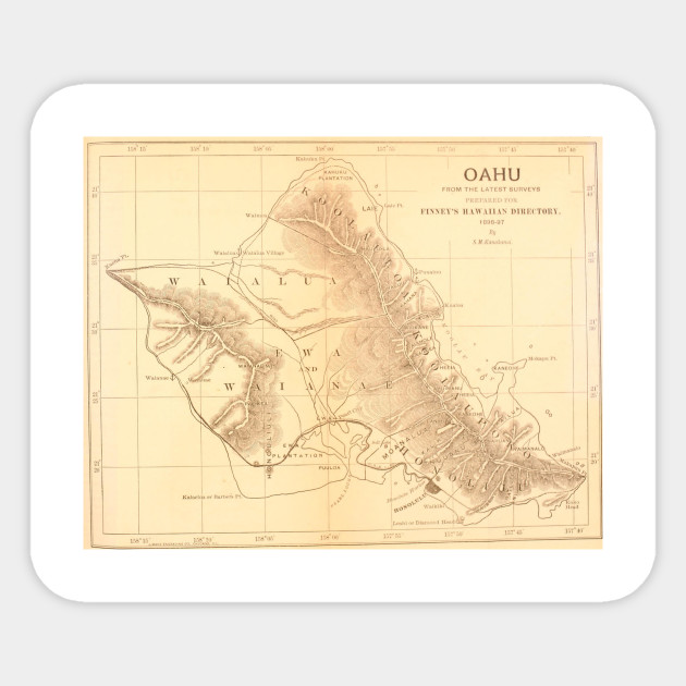 Vintage Map of Oahu Hawaii (1901)