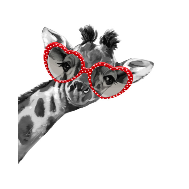 Hipster Giraffe with Heart Shape Glasses