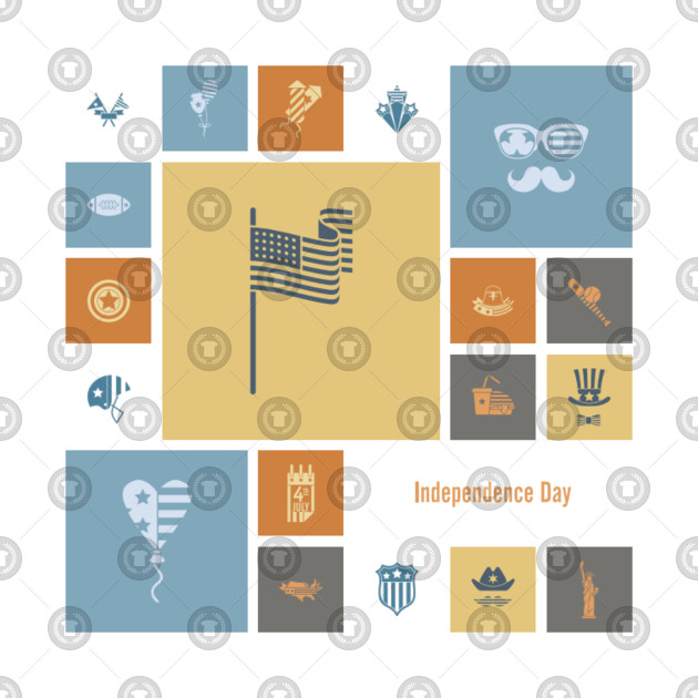 American flag blue and orange design