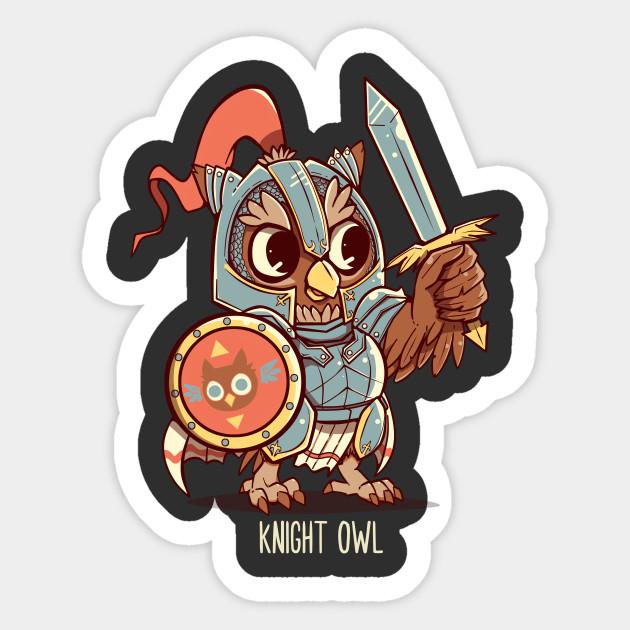6e9b79526 Knight Owl Animal Pun Shirt - Knight Owl - Sticker | TeePublic