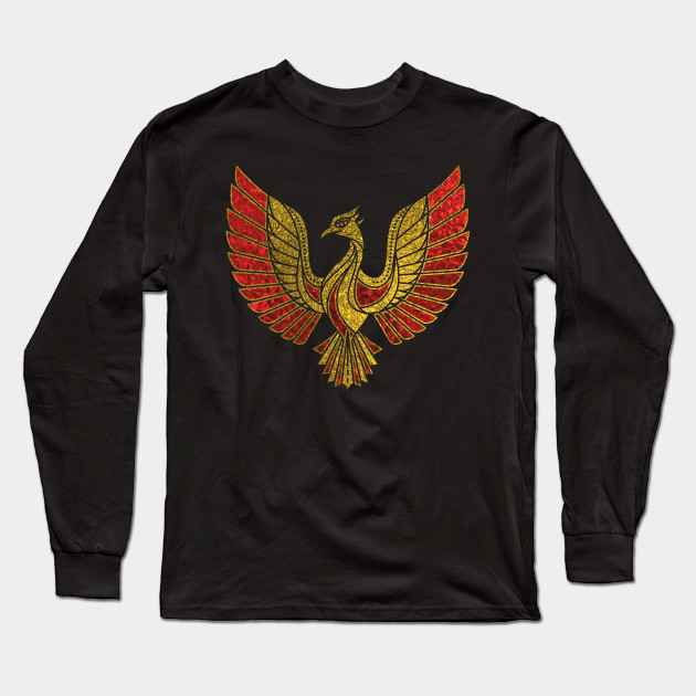 Gold And Red Decorated Phoenix Bird Symbol Phoenix Long Sleeve T