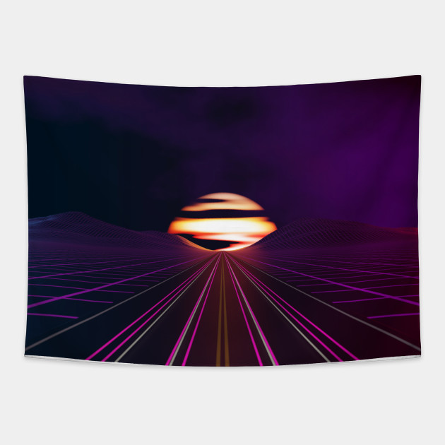 Grid Sunset Vaporwave Tapestry Teepublic Au