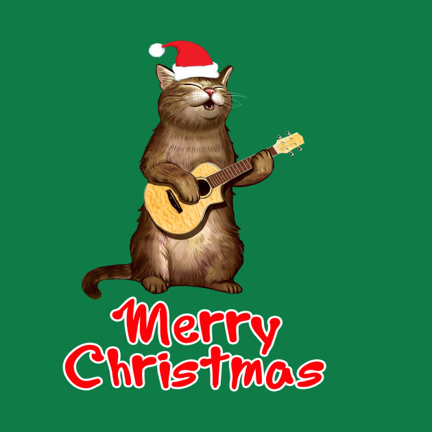 Funny xmas ugly Gifts for cat lovers owners playing ukelele