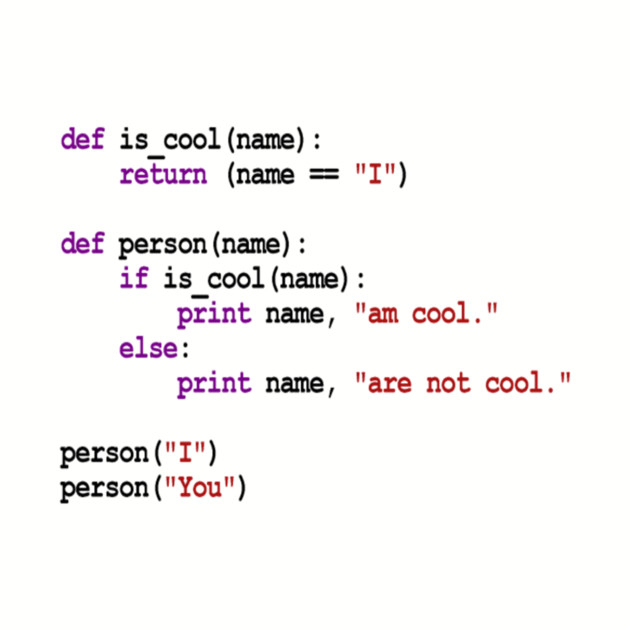 Python Code - I am cool, You are not cool