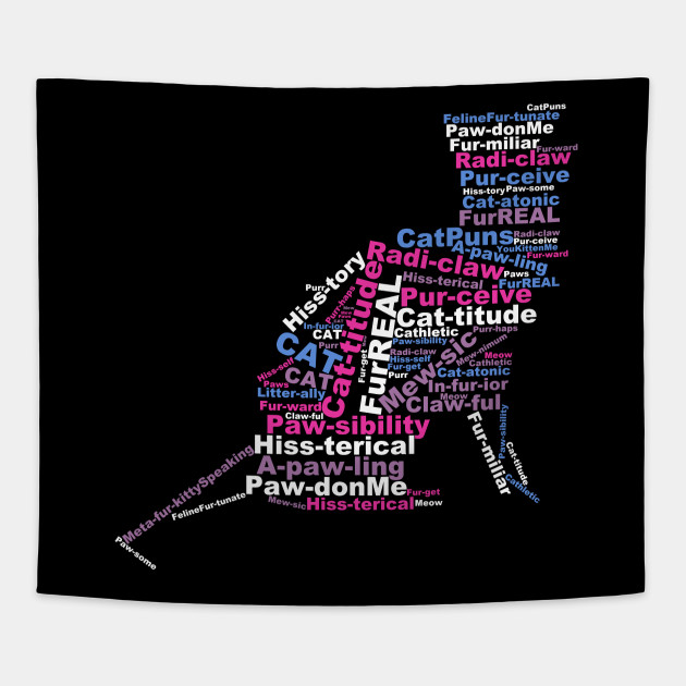 Cat Pun Word Cloud Pink
