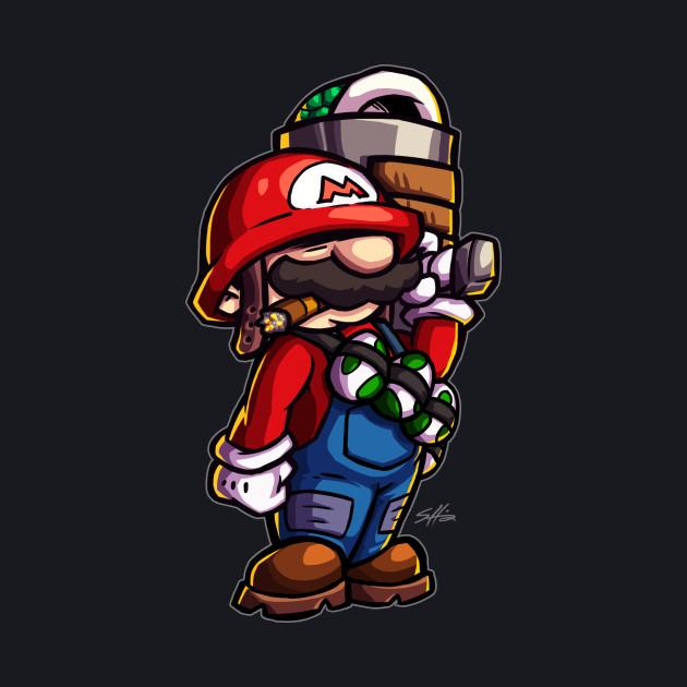Combat Mario (for dark color shirts)