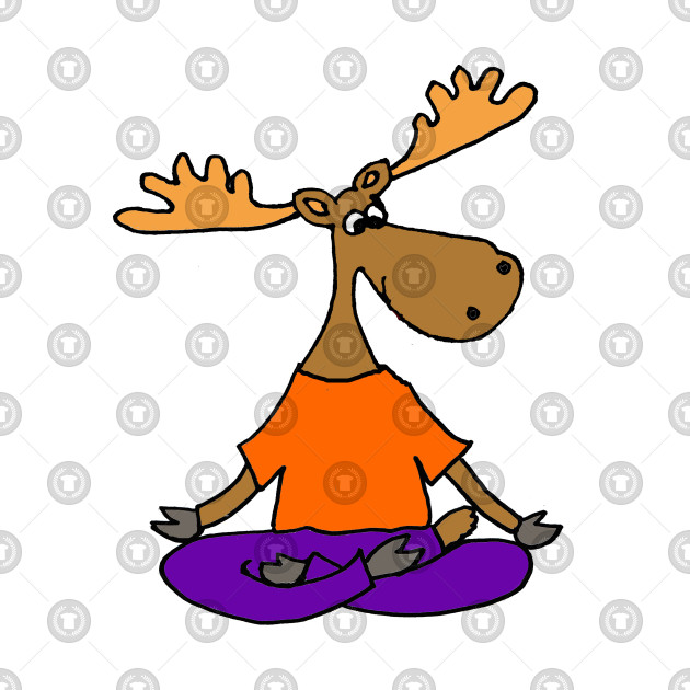 Funny Moose Doing Yoga Cartoon
