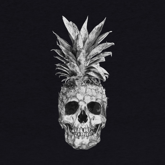 Pineapple Skull Black and White