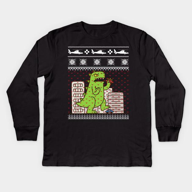 Godzilla Ugly Christmas Sweater Godzilla Kids Long Sleeve T