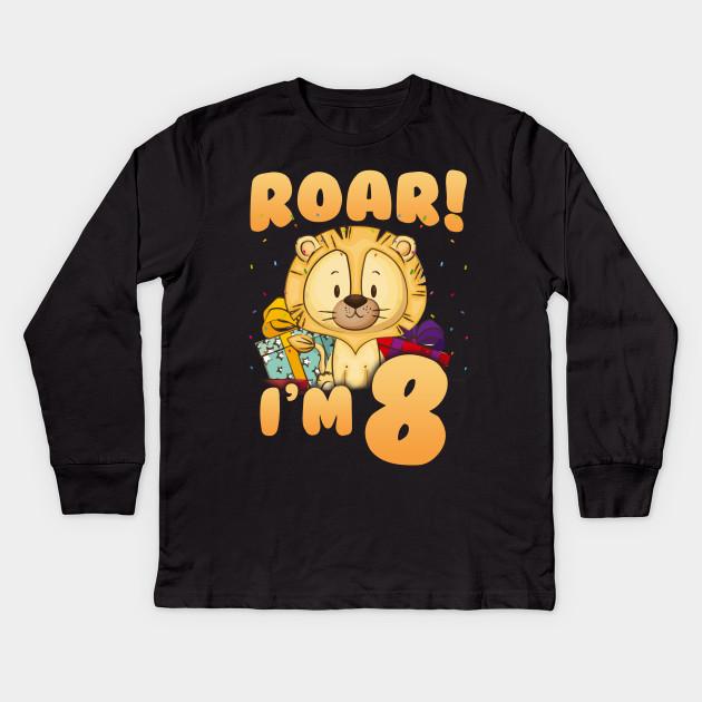 Kids Roar I M 8 8th Birthday Age Lion Shirt Long Sleeve T