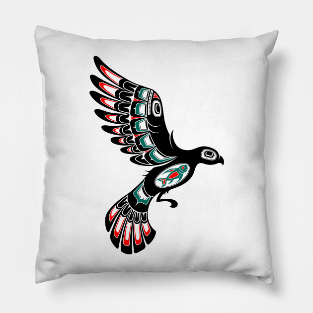 1bbe6d78c Red and Green Haida Spirit Flying Bird - Haida Art - Pillow | TeePublic