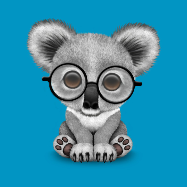 147e13da58b Cute Baby Koala Bear Cub Wearing Glasses - Cute Koala - Onesie ...