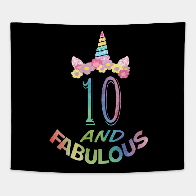 10th Birthday Girl T Shirt 10 Years Old Party Gift Tapestry