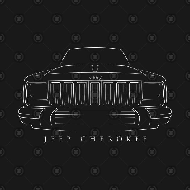 0f2cb4cad Jeep Cherokee XJ - front Stencil, white - Jeep Cherokee - T-Shirt ...