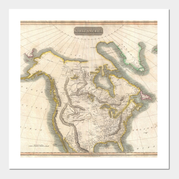 Vintage Map of North America (1814) - North America Map - Posters ...