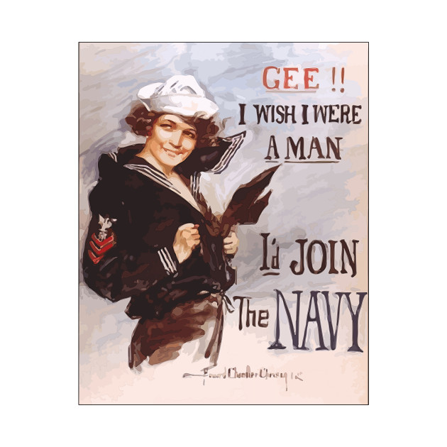 Vintage US Navy Recruiting Poster: Gee!! I Wish I Were a Man