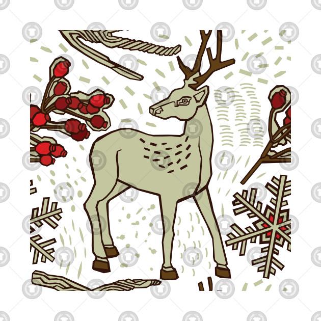Deer In Christmas Winter Forest Pattern