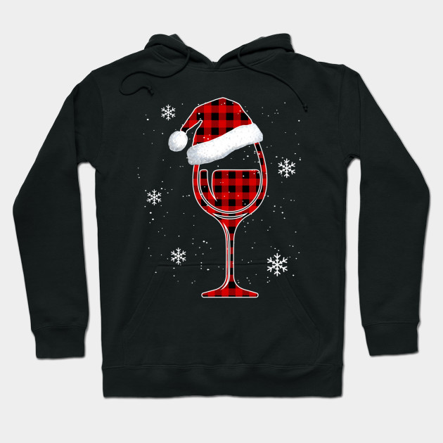 Red plaid Buffalo Christmas Wine With Santa Hat Matching Long Sleeve TShirt Hoodie