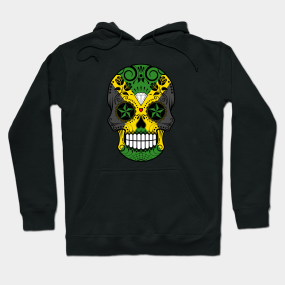 Jamaican Flag Sugar Skull with Roses Hoodie c9fd64d18581