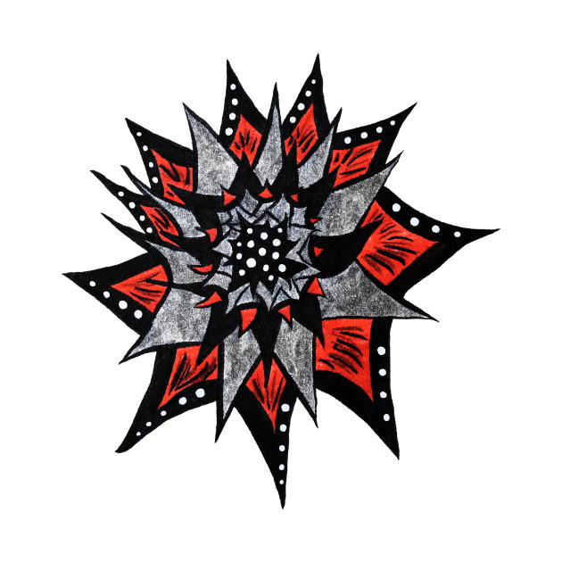 Spiked Abstract Flower In Red And Black
