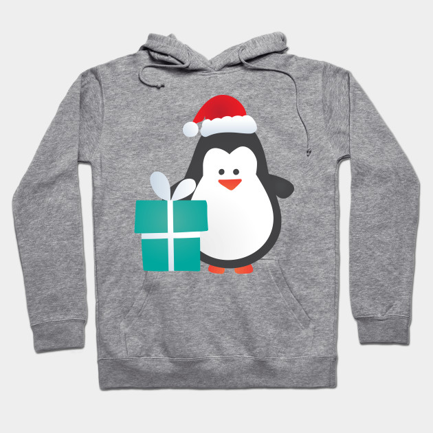 51c3c142 Cute Christmas Penguin with Gift and Santa Hat - Penguin - Hoodie ...