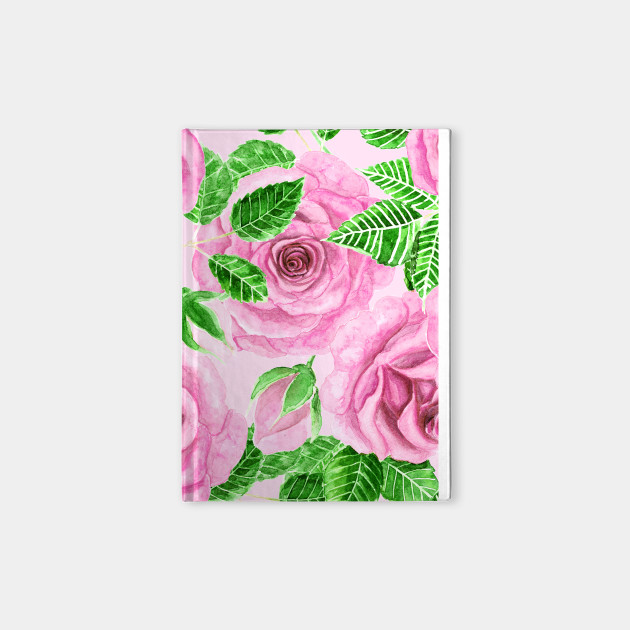 Pink watercolor roses with leaves and buds pattern