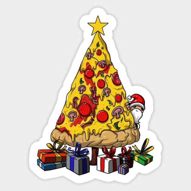 pizza christmas tree funny party pizza christmas tree sticker