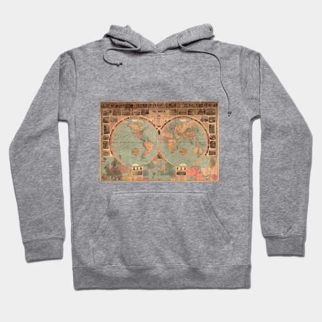 Vintage map of the world 1883 world map hoodie teepublic 1888875 1 gumiabroncs Images