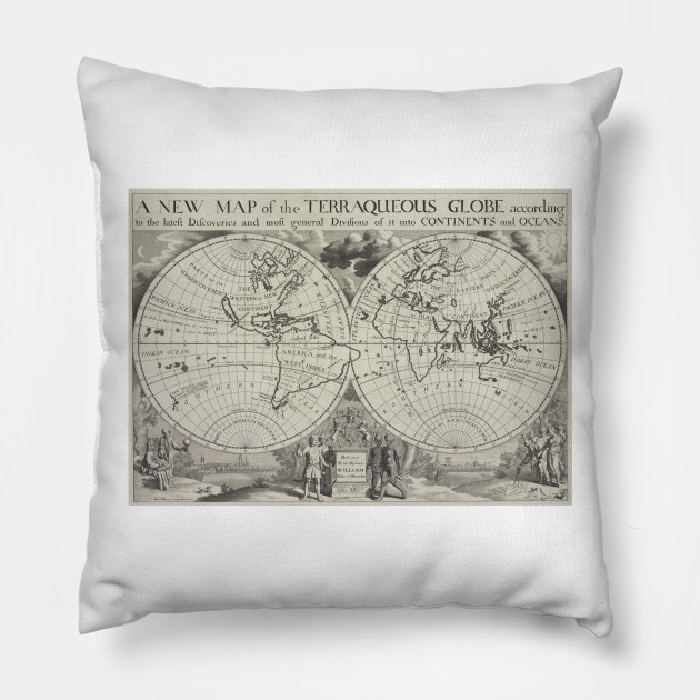 Vintage Map of The World (1700) 2 - World Map - Pillow | TeePublic