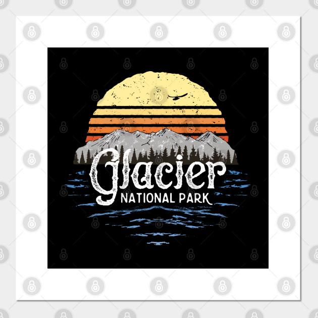 Vintage Glacier National Park Montana T Shirt Gift Souvenir Glacier National Park Posters And Art Prints Teepublic