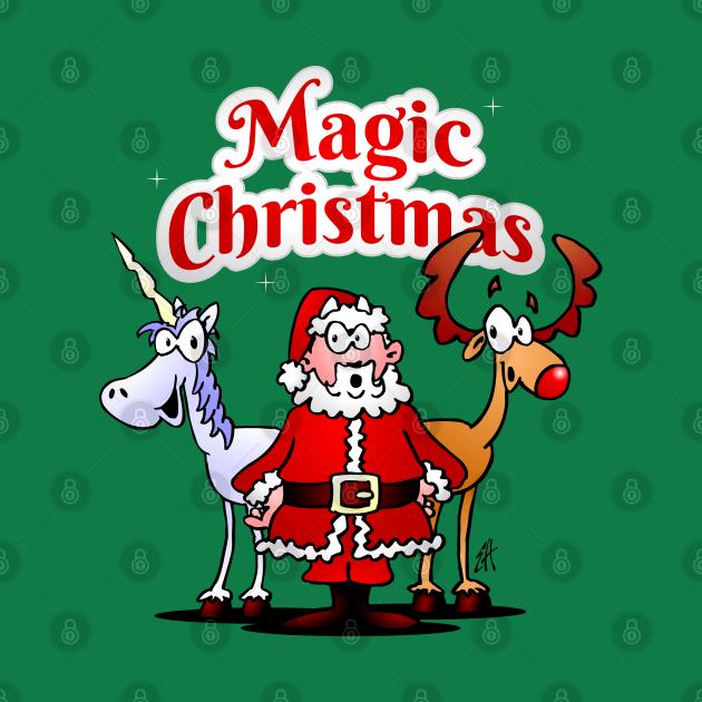 Magic Christmas: Santa, reindeer and a unicorn