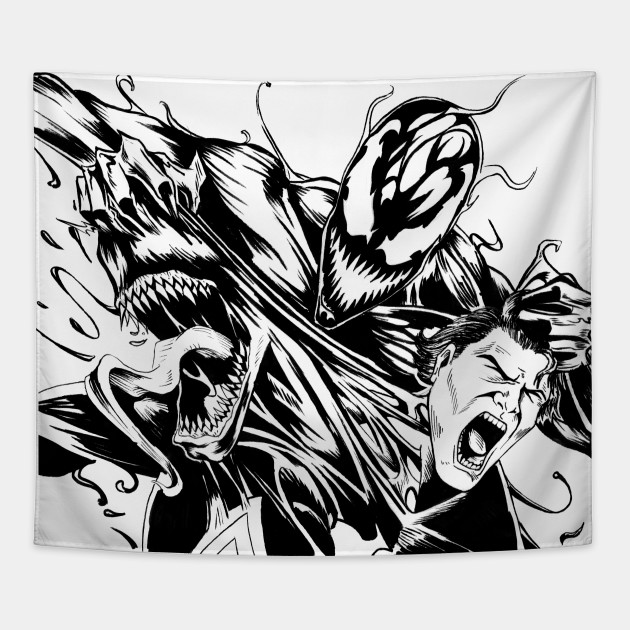 Venom And Carnage Inktober Drawing Venom Tapestry Teepublic