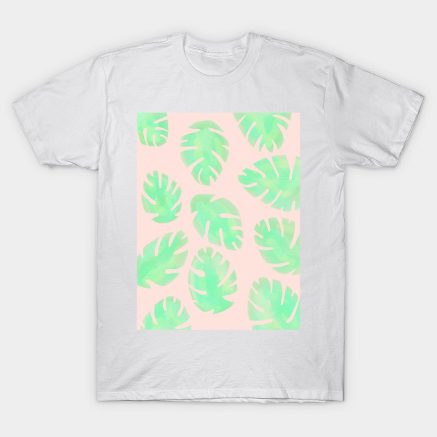 Pink and Green Monstera Leaf