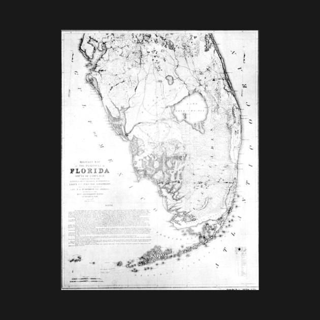 Vintage Map of Southern Florida (1856) - Florida Map - T-Shirt ... on