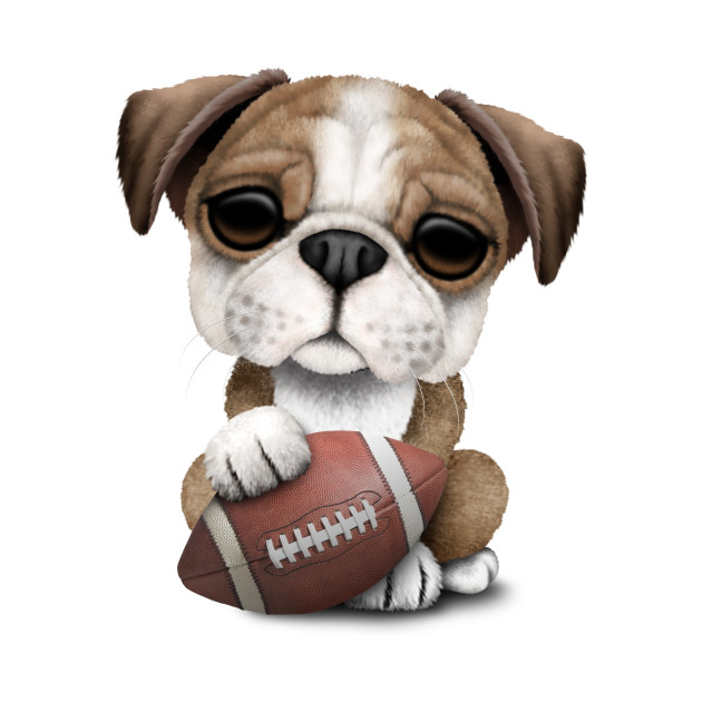 British Bulldog Puppy Playing With Football