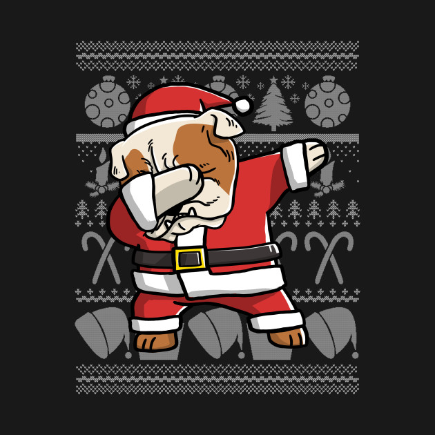 Dabbing English Bulldog Ugly Christmas Sweater Graphic