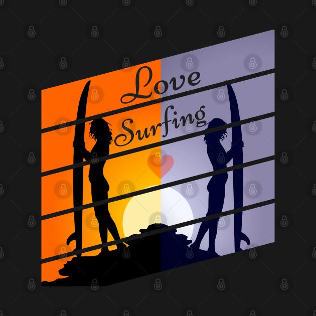 Cool Surfing T-Shirt Vintage Retro Style Girl Sun Surfer Christmas Gift Idea