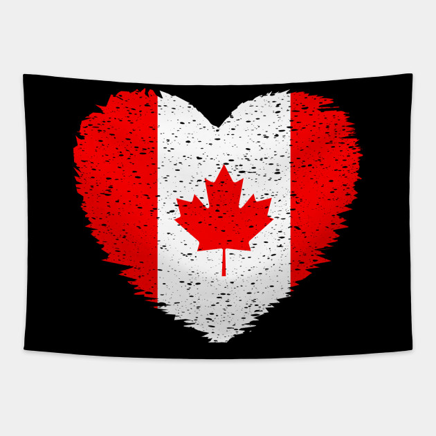 Canada Grunge Distress Heart Flag  Design