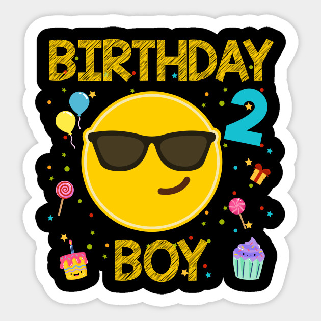 Kids Emoji 2nd Birthday Boy T Shirt Fun 2 Years Old Gift Sticker